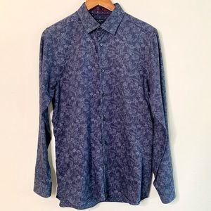 Ted Baker Marais Blue Floral Contrast Cuff Shirt.
